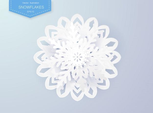 Conception de flocons de neige pour l'hiver avec espace de texte. flocons de neige en papier abstrait Vecteur Premium