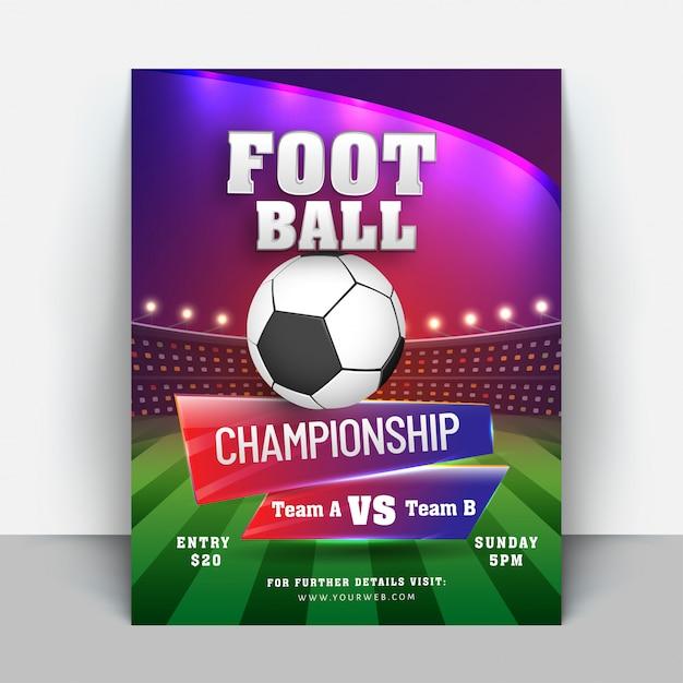 Conception De Flyer Ou De Bannière De Championnat De Football Vecteur Premium