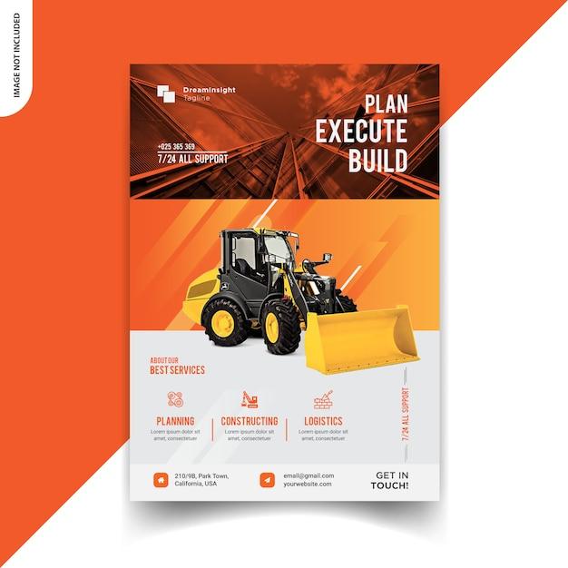 Conception de flyer de construction Vecteur Premium
