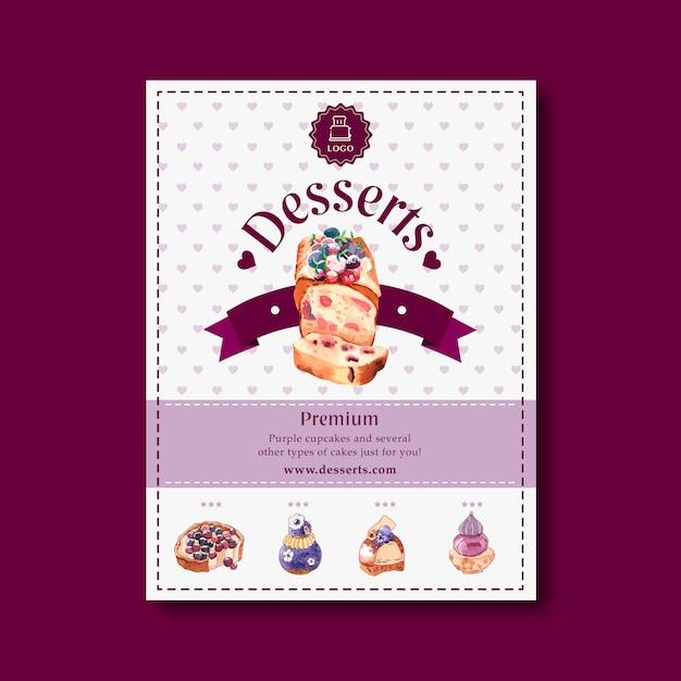 Conception de flyer dessert avec gâteau aux fruits, baies, myrtilles, illustration aquarelle de fleur. Vecteur gratuit