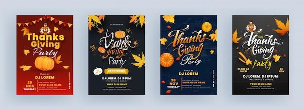 Conception De Flyer De Fête De Thanksgiving Avec Oiseau De Dinde, Citrouille, Feuilles D'érable Et Détails De L'événement Vecteur Premium
