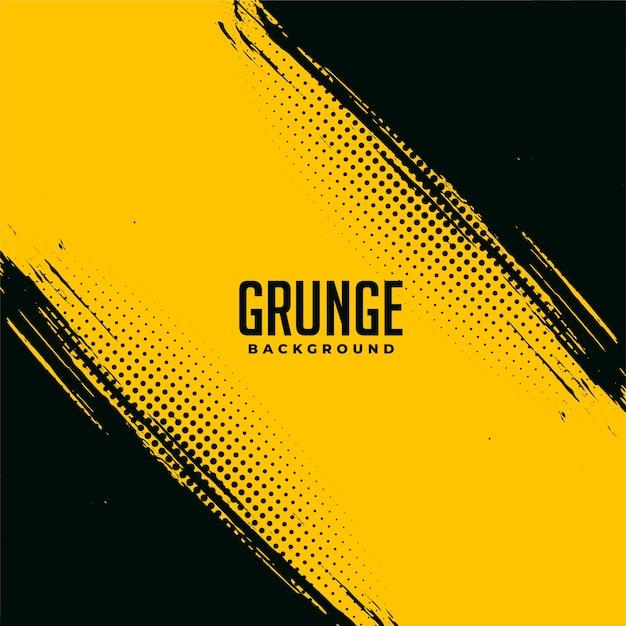 Conception De Fond Abstrait Grunge Noir Et Jaune Vecteur gratuit