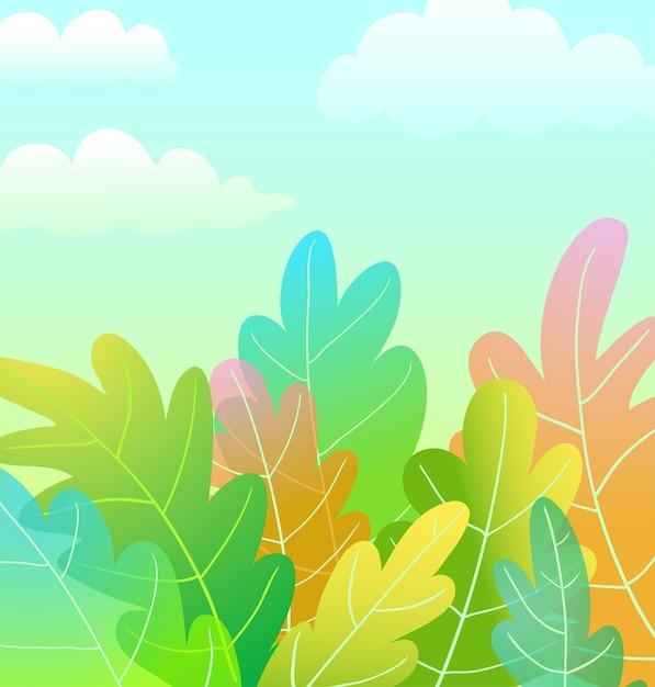 Conception De Fond Artistique Kids Magic Forest Cartoon Avec Des Nuages ?? Dans Le Vecteur De Ciel Bleu Dans Un Style Aquarelle. Vecteur Premium