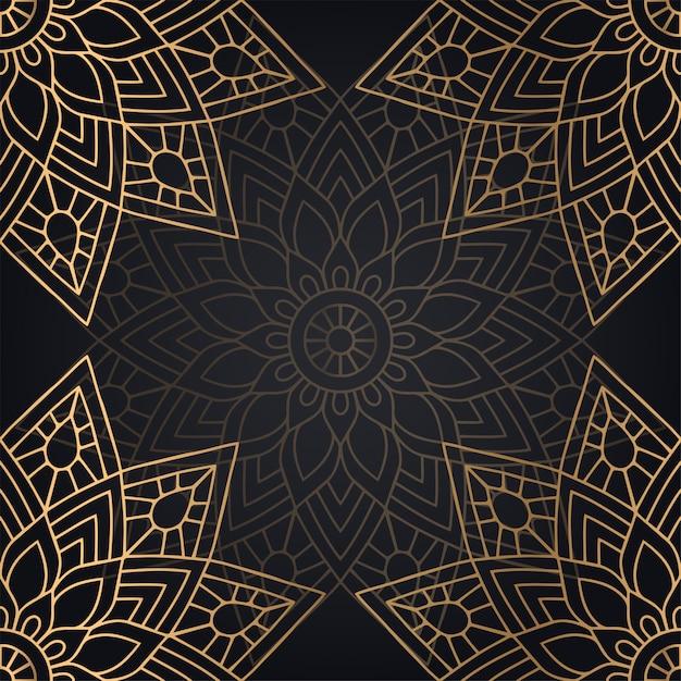 Conception De Fond De Modèle Sans Couture Mandala En Couleur Noire Et Dorée Vecteur gratuit