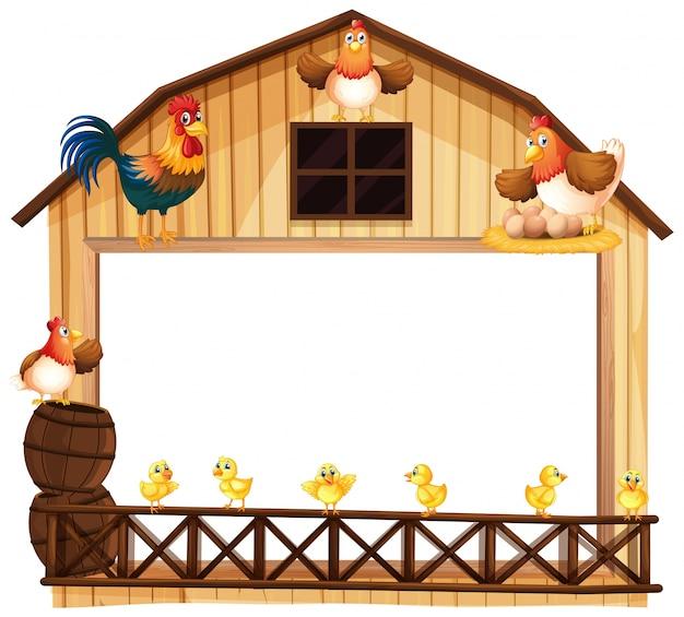Conception De Fond Avec Des Poulets Dans La Grange Vecteur gratuit