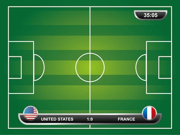 Conception de football au cours de l'illustration vectorielle fond champ Vecteur Premium