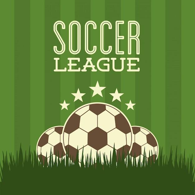 Conception de football au cours de l'illustration vectorielle fond vert Vecteur Premium