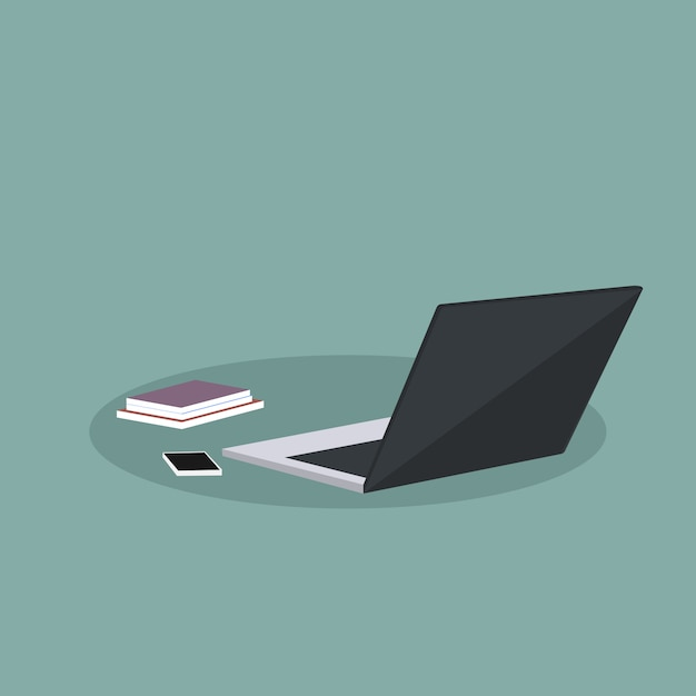 Conception de fournitures de bureau avec ordinateur portable Vecteur Premium