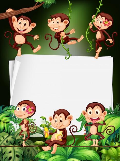 Conception de la frontière avec des singes dans la forêt Vecteur Premium