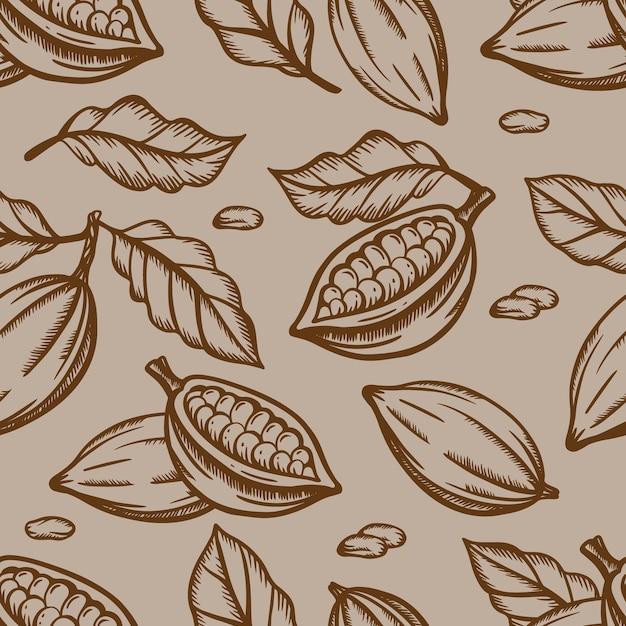 Conception De Fruits Et De Feuilles De Chocolat En Couleur Marron Sur Fond Marron Clair Dans Un Style Vintage Vecteur Premium