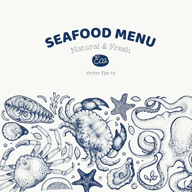 Conception de fruits de mer et de poisson. illustration dessinée à la main Vecteur Premium