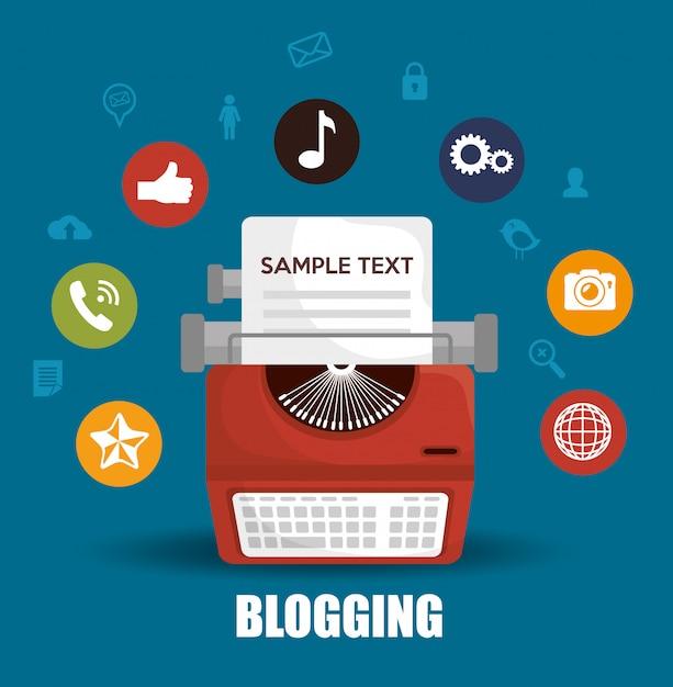 Conception de gestion de blog Vecteur Premium