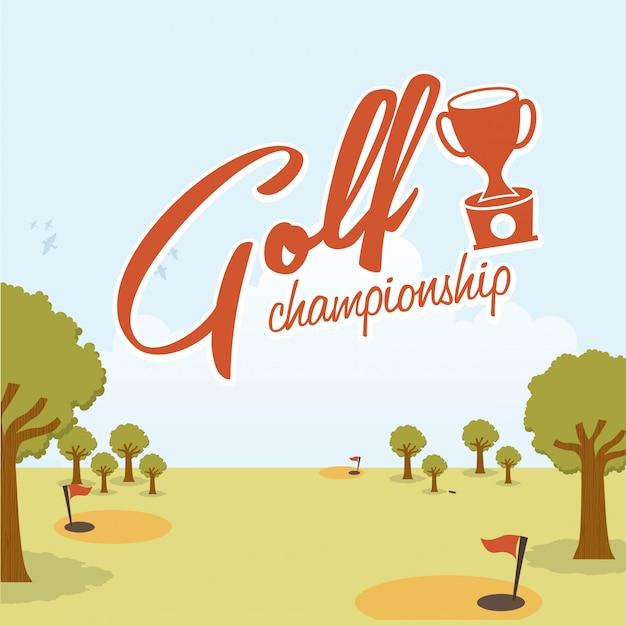 Conception de golf au cours de l'illustration vectorielle fond paysage Vecteur Premium