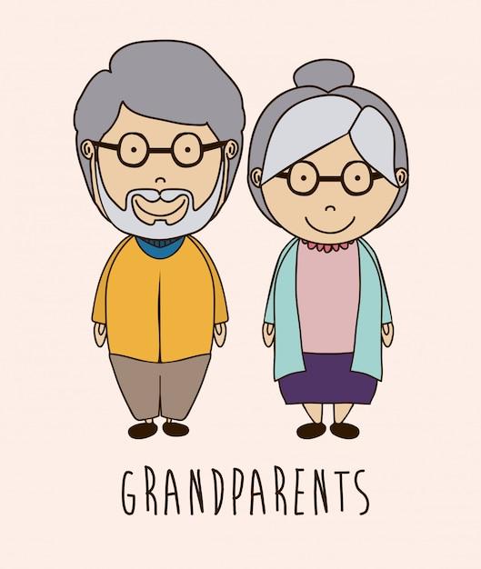 Conception de grands parents Vecteur Premium