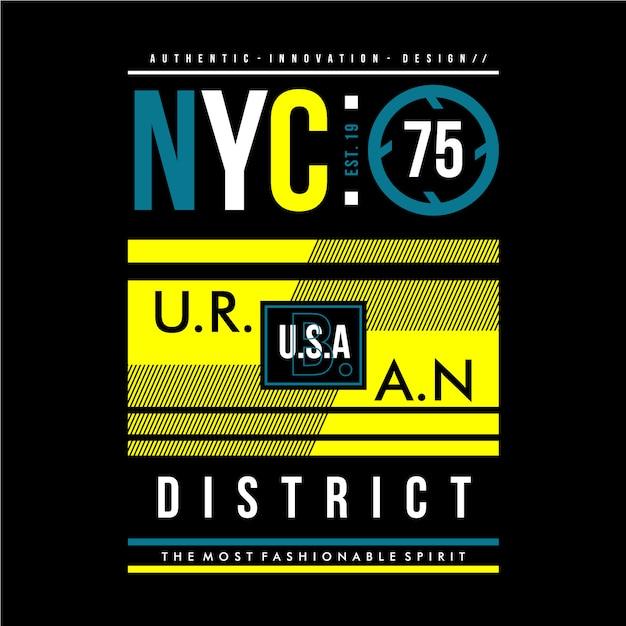 Conception graphique de district urbain de nyc Vecteur Premium