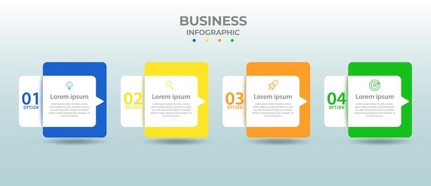 Conception Graphique D'informations Avec Quatre Options Ou étapes. Vecteur Premium