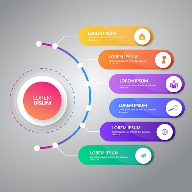 Conception graphique d'informations avec six étiquettes Vecteur Premium