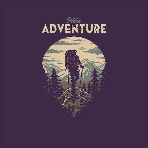 Conception Graphique De T-shirt Aventure Randonnée, Style De Ligne Dessiné à La Main Avec Couleur Numérique Vecteur Premium