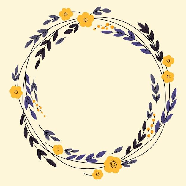 Conception de guirlande avec des fleurs Vecteur Premium