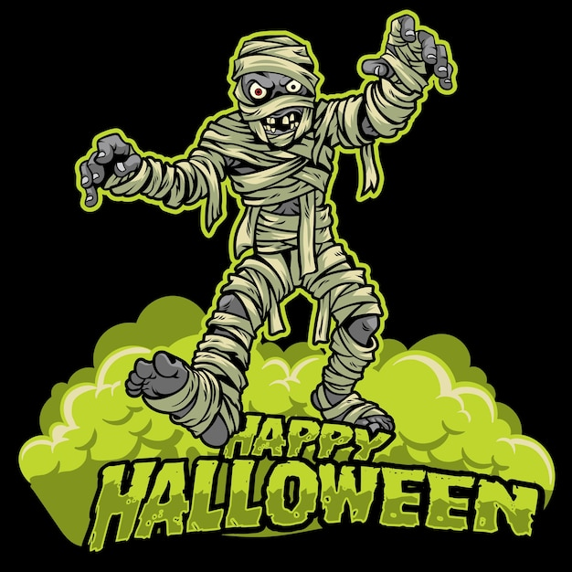 Conception de halloween de momie Vecteur Premium