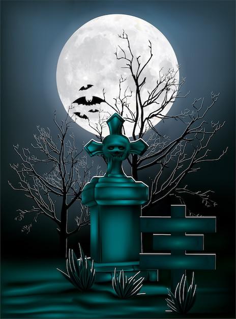 Conception D'halloween, Pierre Tombale De Vecteur D'illustration Sous La Lumière De La Lune. Vecteur Premium