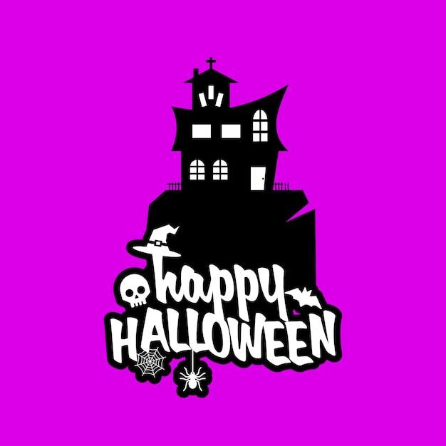 Conception d'halloween avec la typographie et vecteur de fond clair Vecteur gratuit