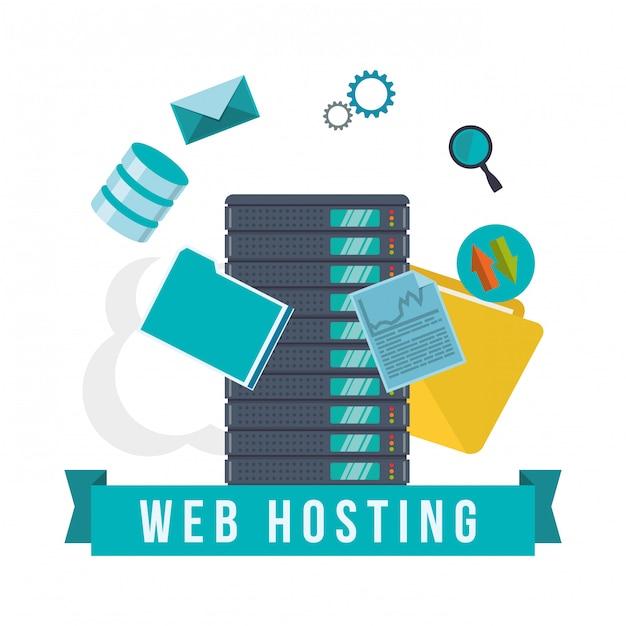 Conception d'hébergement web Vecteur Premium