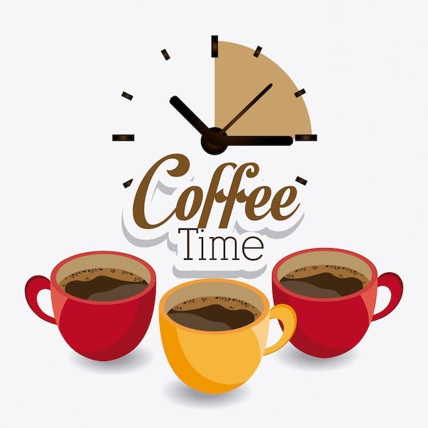 Conception de l'heure du café. Vecteur Premium