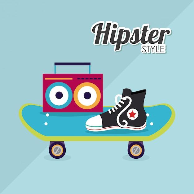 Conception de hipster Vecteur Premium
