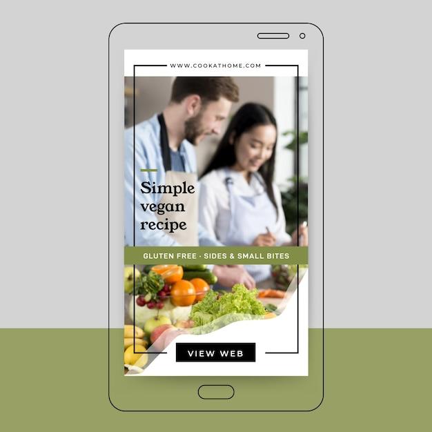 Conception De L'histoire Instagram De Recette Végétalienne Vecteur gratuit