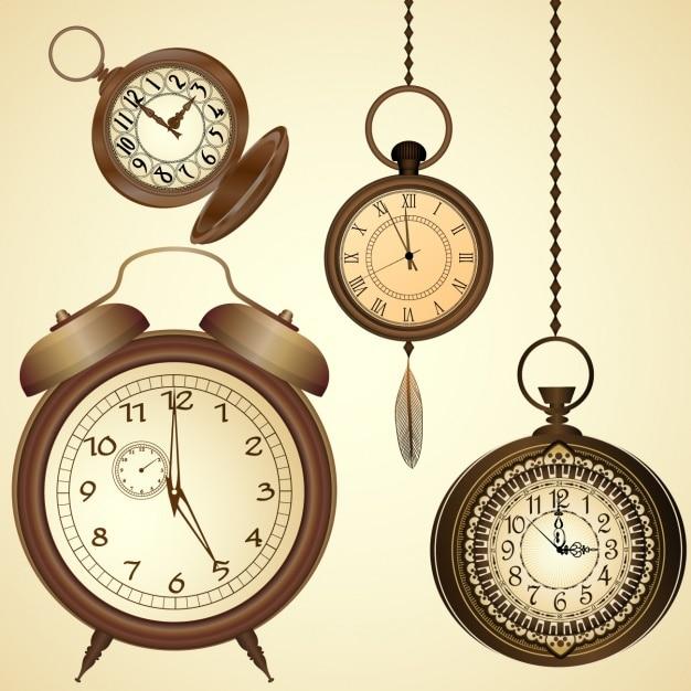 Conception horloges de fond Vecteur gratuit