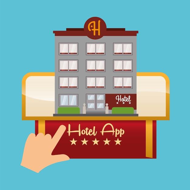 Conception d'hôtels et d'applications numériques Vecteur Premium