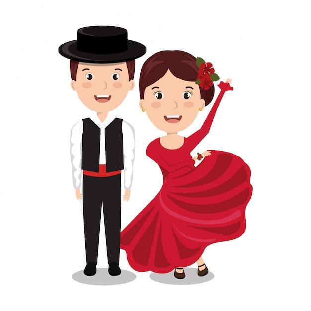 Conception d'icône isolé danseurs de flamenco Vecteur Premium