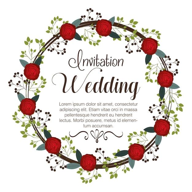 Conception d'icône isolé invitation mariage floral Vecteur Premium