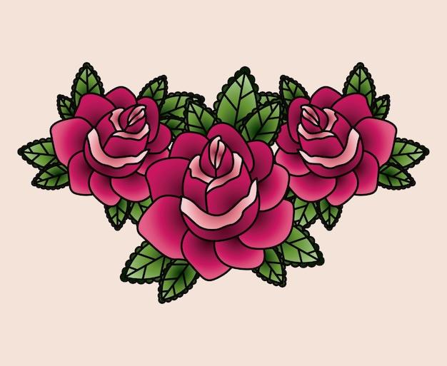 Conception D'icône Isolé Tatouage Floral Vecteur Premium