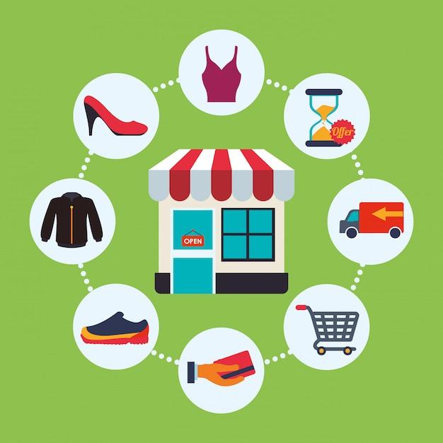 Conception d'icône de shopping Vecteur Premium