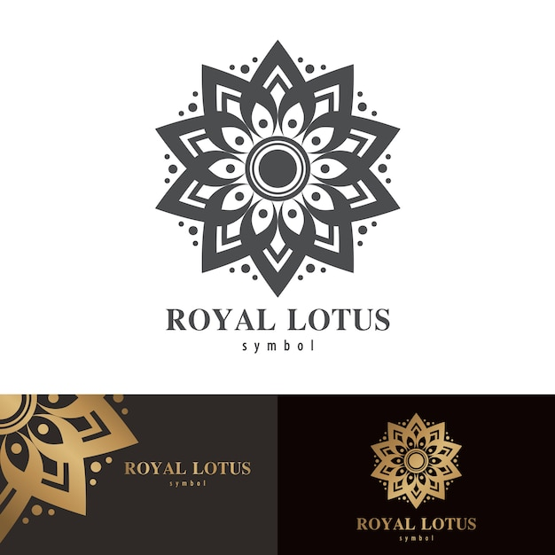 Conception d'icône symbole lotus royal Vecteur Premium