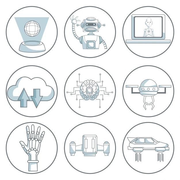 Conception d'icône de technologie sur fond blanc Vecteur Premium