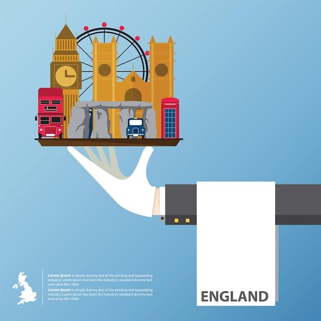 Conception d'icônes plates des monuments du royaume-uni. Vecteur Premium