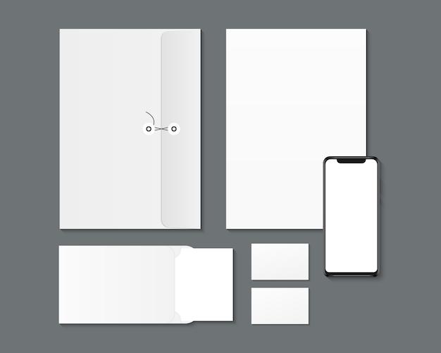 Conception D'identité De Marque D'entreprise. Smartphone Vierge, Papier, Enveloppes, Maquette De Cartes De Visite. Vecteur Premium