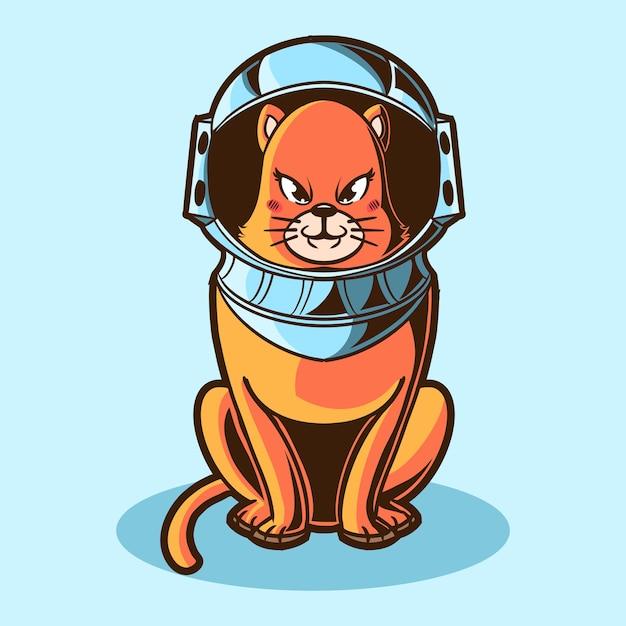 Conception D'illustration D'astronaute De Chat Vecteur Premium