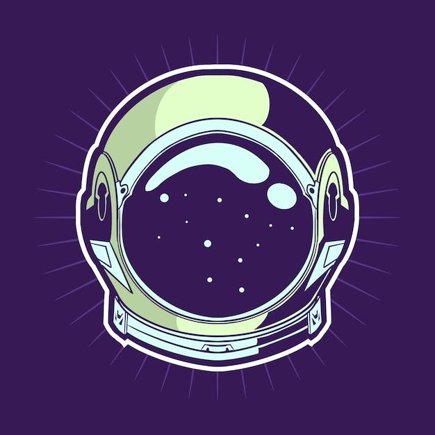 Conception D'illustration De Casque D'astronaute Vecteur Premium