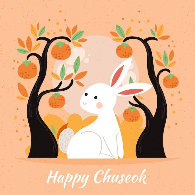 Conception D'illustration De Festival Chuseok Dessinée à La Main Vecteur gratuit