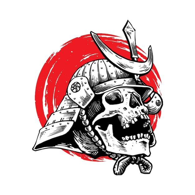 Conception D'illustration De Samouraï Avec Visage De Crâne Vecteur Premium