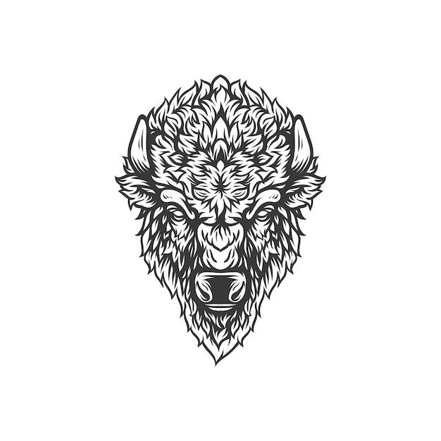 Conception Illustration Tête De Bison Vecteur Premium