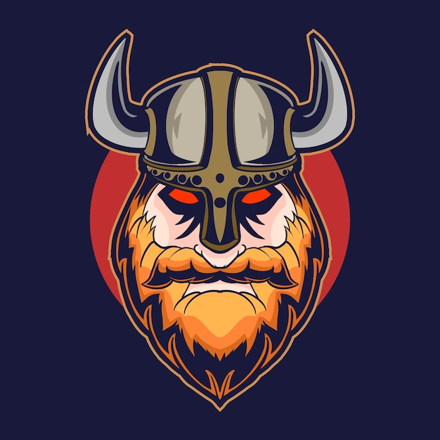 Conception D'illustration Vectorielle Tête Viking Sur Fond Sombre Vecteur Premium