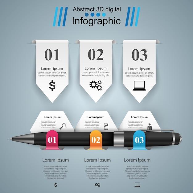 Conception infographique 3d. Vecteur Premium