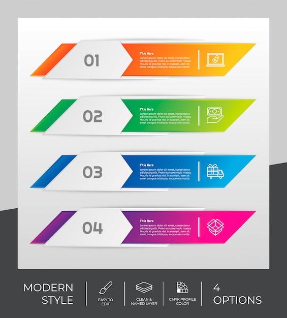 Conception infographique à 4 étapes et style moderne. Vecteur Premium