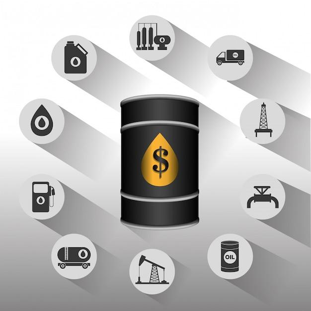 Conception infographique de l'industrie du pétrole et du pétrole Vecteur gratuit