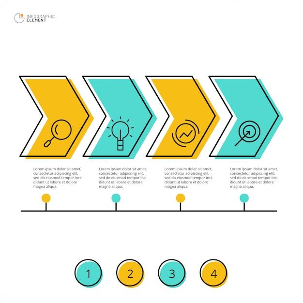 Conception infographique avec option 4 Vecteur Premium